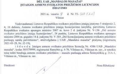 mandalos Masažams išduota  ASPĮ licenciją